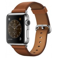 Apple Watch  42mm S.Steel Classic Buckle Brown Leather MLC92