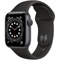 Apple Watch Series 6 40mm Space Gray Aluminum Case with Black Sport Band MG133